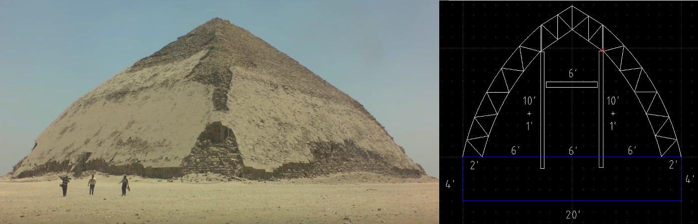 Comparaison de la première pyramide pliée d'Égypte et de notre PyraPOD – les deux sont si semblables dans la forme