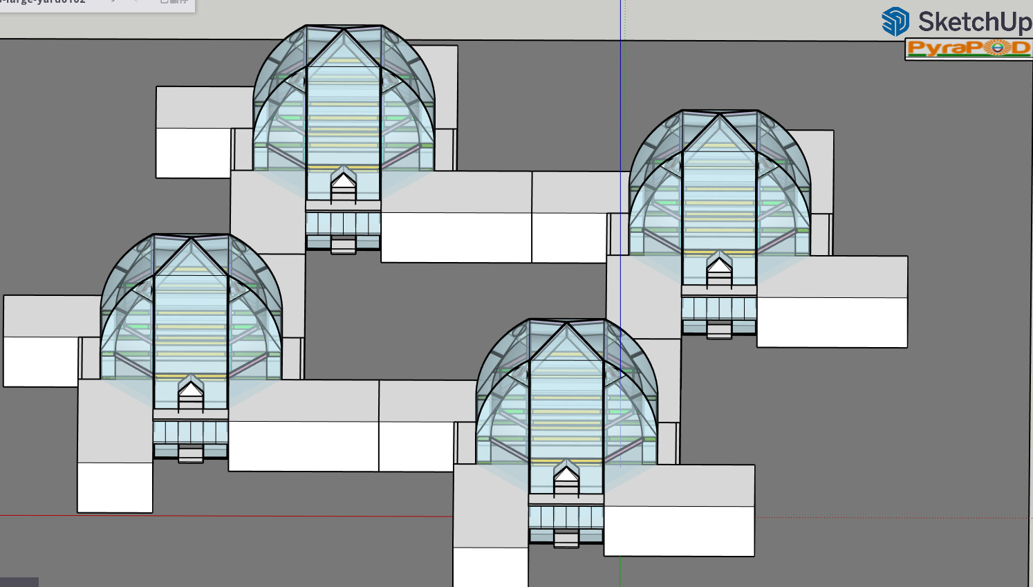 Four of an enlarged PyraPOD8-LifePOD compex form a court yard for comminity living